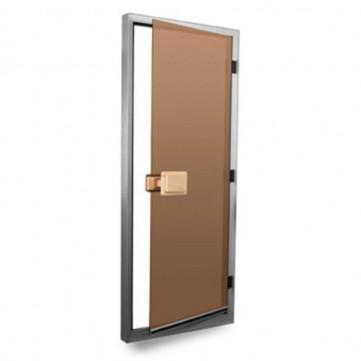 80х185 - Левая - стеклянная дверь для хаммама SAWO Standart - Мат. Бронза